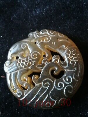 Collect Chinese hetian jade hand carved dragon and phoenix pendant amulet
