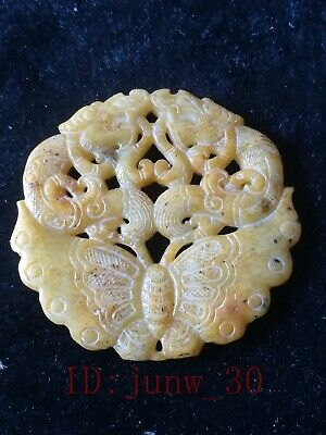 Collect Chinese hetian jade hand carved dragon butterfly pendant amulet