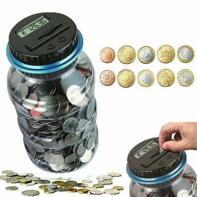 Piggy bank coin counter digital money jar counting LCD electronic display PLUS