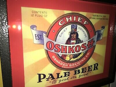 Chief Oshkosh Wisconsin Beer Bar Man Cave Lighted Advertising Sign
