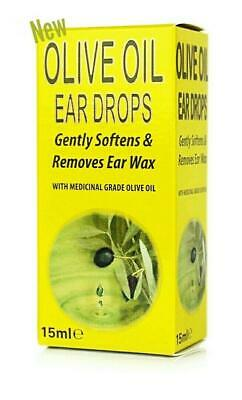 Olive Oil Ear Drops Gently Softens & Removes Ear Wax Medicinal Grade Oil 15ml