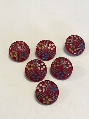 Vintage Antique Victorian Floral Painted Set of 5 Matching Glass Buttons