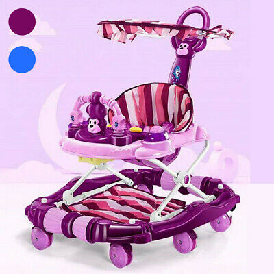 4 in 1 Baby Walker First Steps Push Along Bouncer Activity Kids Cute Ride On Toy