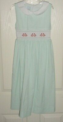 GUC Vive La Fete Girls Aqua & White Gingham Crab Smocked Dress Size 6X 6