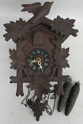 Vintage Mid Century German Black Forest Wooden Carved Cuckoo Wall Clock