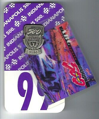 1989 Indianapolis 500 Mile Race Silver Pit Badge + Credentials - Fittapaldi Won