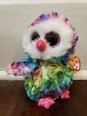 """Ty® 6/"""" Owen Beanie Boo/'s® Small Rainbow Colored Owl FROM OUR  AVIARY STOCK"""