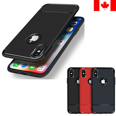New Carbon Fiber ShockProof Soft Rubber Case Cover For iPhone 7 8 Plus X XS XR