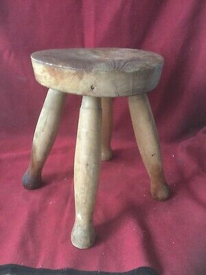 Antique Farmhouse Stool Circa 1950s Old Milking Stool Good Construction Free P&P