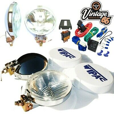 Classic Car Chrome Fog Lamps Lights with Covers & 12v Relay Switched Wiring Kit