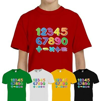 Kids Boys Girls Number Day 2020 Maths Day Colourful School Tee T-Shirt Top