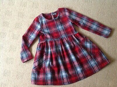 NEXT GIRLS RED-GREY TARTAN DRESS WITH POCKETS AGE 4-5 years New