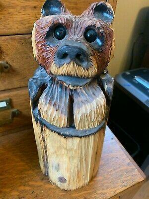 Vintage Cute Wood/Tree Hand Carved Rustic Bear Statue With Free Shipping
