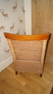 Large Vintage mid century Library chair, wicker and oak.