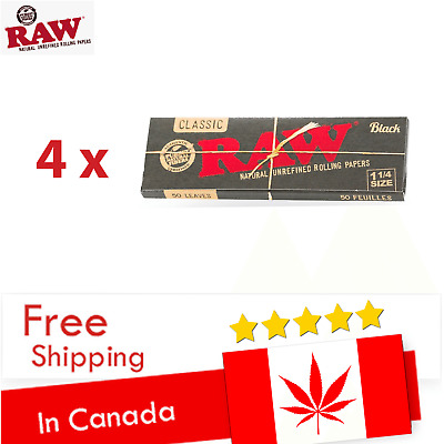 5 RAW Classic Black 1 1/4 Cigarette Rolling Papers - SHIP EVERY DAY FROM CANADA