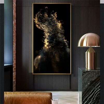 Abstract Gold And Black Canvas Painting Wall Art Picture Scandinavian Home Decor