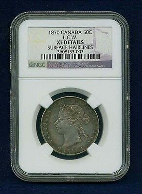 """Canada Victoria  1870 L.c.w.  50 Cents Silver Coin, Certified Ngc """"Xf Details"""""""