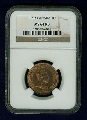 Canada Edward Vii 1907 Large Cent, Choice Uncirculated, Certified Ngc Ms64-Rb