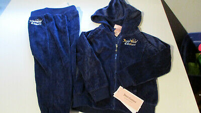 Nwt Juicy Couture Girls  Velour Track Suit Hooded Jacket Pants Navy Blue 3T