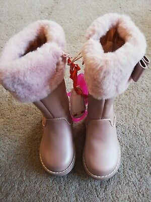 Baker by Ted Baker BNWT Infant/ Toddler Girls Fur Cuff Pink Full Boots size 5