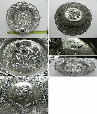 "Antique Very Large 15.5"" x 14.5"" Germany .835 Silver Dish Repousse Cherubs"