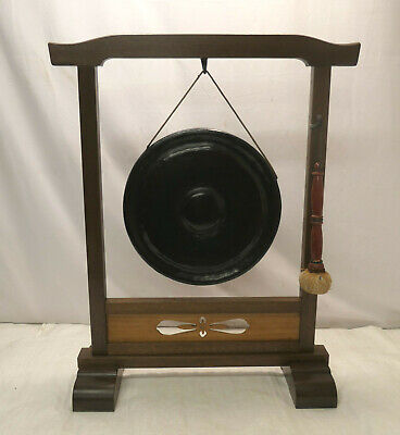 Antique  Buddhist Temple Bronze Gong Stand Religious Cultural Japanese 1910s #3