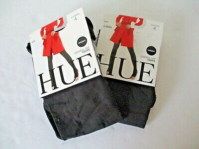 Hue Ultimate opaque control top tights 2 pair plus Size 4 black 40 Denier