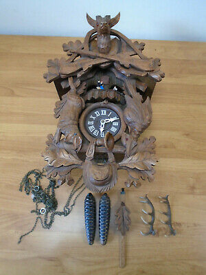 Vintage Black Forest Style Cuckoo Clock with Stag Rabbit and Bird Motives