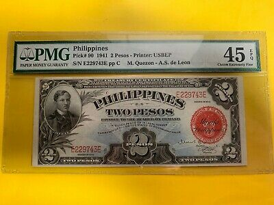 Philippines 1941 Two Peso Treasury Certificate E229743E P-90 Pmg Ch Ef 45 Epq