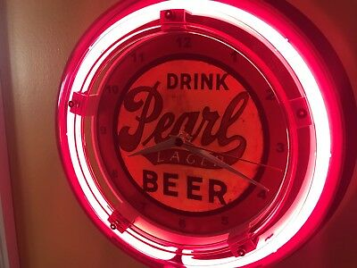 Pearl Texas OldLogo Beer Bar Advertising Man Cave Neon Wall Clock Sign