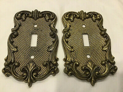Brass National Lock switch Cover Plate (2) Vintage pair Antique
