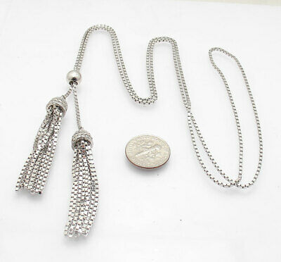 """Lariat Necklace Solid Silver Freshwater Pearl Ladies Necklet 17 /"""""""