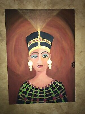 Spiritual Painting Of Nefertiti Whiteout Frame And Made By Egipcian Master