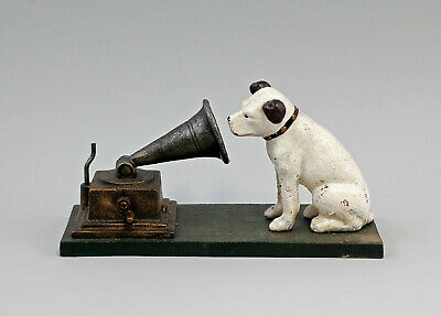 """9937948 Cast Iron Figure Sculpture Dog with Gramophone His Masters Voice """""""