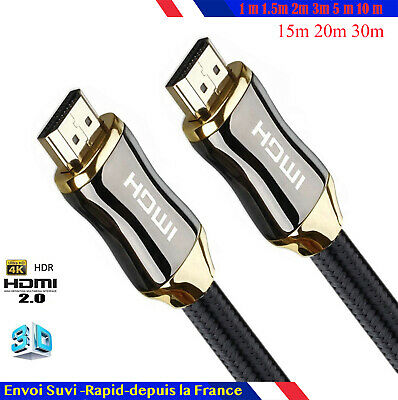 Cable hdmi 2.0 4K 60Hz ultra full HD 2160p 3D HDR 18GB 1/1,5/2/5/10/15/20/30 m o