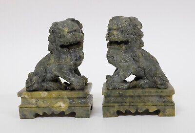 Splendid Pair of Antique Chinese Soapstone Statues of Foo Dogs Guangxu c1900