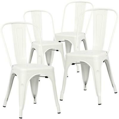 Home White Side Chair Set of 4 Powder Coated Iron Stackable Non-Marking Feet Cap