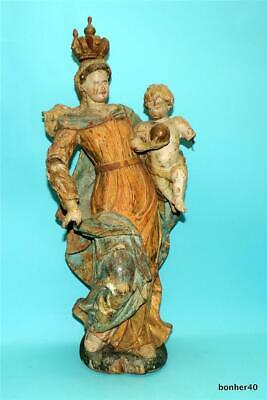 18th CENTURY CARVED WOOD POLYCHROME HOLY MARIA CUPID/CHERUB PUTTY