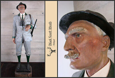 Amazing Hand carved Lifesize Signed Hunter Black Forest German Wood Carving