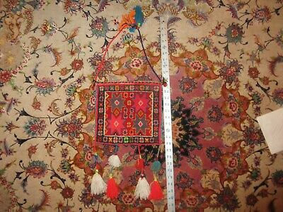 Vintage Tribal Woven Carpet Wool Purse Bag Tote Boho Hippie