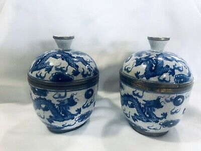 Set Of Antique Chinese Small Blue and White Porcelain Jars