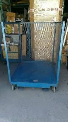 Industrial Metal Pallet Cage in Great Condition with Casters