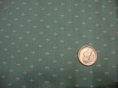 Vintage Cotton Fabric TINY WHITE DESIGN ON MINT GREEN 1 Yd/44""