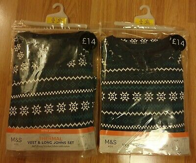 2x boys M&S extra warmth THERMAL VEST & LONG JOHNS SET age 7-8 years BNIP ?twins