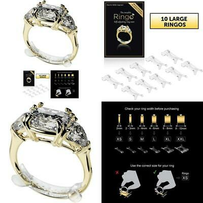 RINGO Packs: 10-Pack of The Invisible Ring Sizer with Transparent XS,S,M,L-SIZE