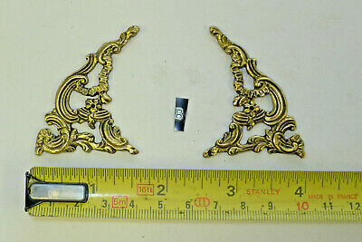 b) PAIR ARCH CLOCK SPANDRELS Cast Yellow Brass Lantern/Bracket/Hooded, smaller