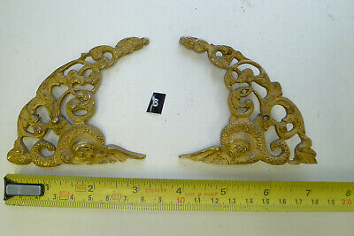 6) Antique Period PAIR ARCH CLOCK SPANDRELS Cast Yellow Brass Longcase & screws