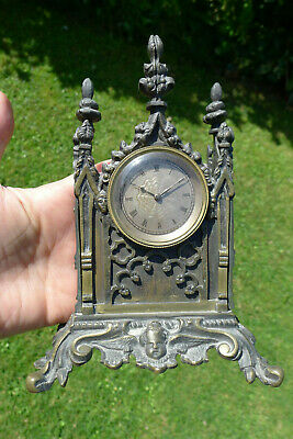 Antique GOTHIC BRONZE miniature silvered engraved dial watch desk timepiece