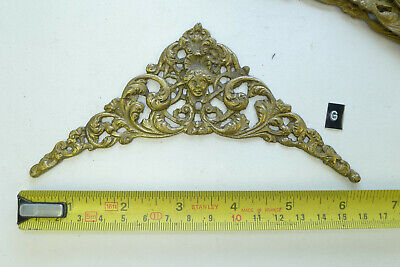 g) SET of FOUR CLOCK SPANDRELS Cast Yellow Brass Lantern/Hooded/Longcase Antique