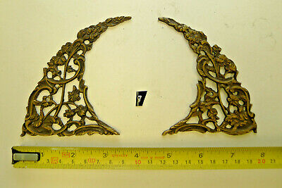 7) Antique Period PAIR ARCH CLOCK SPANDRELS Cast Yellow Brass Longcase & screws